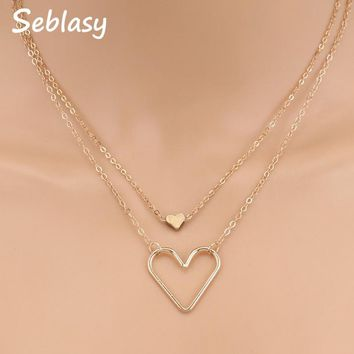 Seblasy Hot Sale Punk Gold Color Double Layer Hollow Small Sequins Love Hearts Necklaces & Pendants for Women Valentine's Day