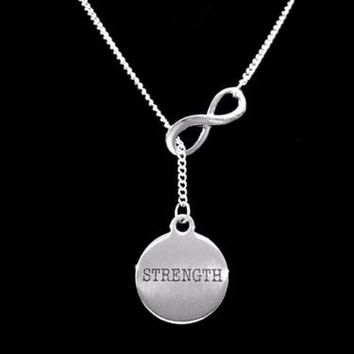Strength Inspirational Fitness Motivational Strong Infinity Lariat Necklace
