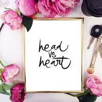 head vs heart office floral room quote typographic print quote print inspirational motivational tumblr room decor framed quotes teen boho