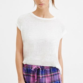Plaid Drawstring PJ Shorts