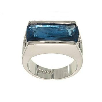 Large Aqua Spinel Silvertone Single Stone Fashion Ring That is Channel Set Horizontially