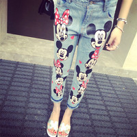 Lovy Cartoon Mickey Printed Pants Women Waist Loose Capris Jeans Slim Pencil NZ1008