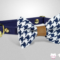 Patrick Navy ••• Cat Collar, Breakaway Collar, Bow Tie Collar, Dog Collar, Lavender Floral