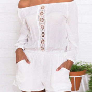 Off Shoulder Long Sleeve Chiffon Romper with Lace Accent