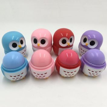 4pcs/set Makeup Owl Shape Candy Color Moisturizing Lip Balm Natural Plant Sphere Lip Gloss Lipstick Fruit Embellish Kid's Gift
