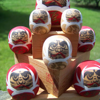 Vintage Japanese Asian Wooden Daruma Dolls...Saki Measuring Bowls...Mid Century...1960s...Oriental..Fun...Quirky...Collectible
