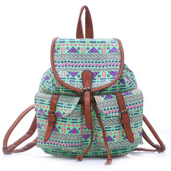 Green College Aztec School Bag Travel Bag Canvas Lightweight Casual Backpack