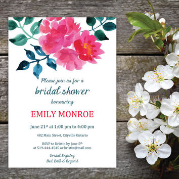 Garden Party Bridal Shower Invitation and Name Tags | DIY Instant Download MS Word Document | Watercolour Pink, Green, Teal