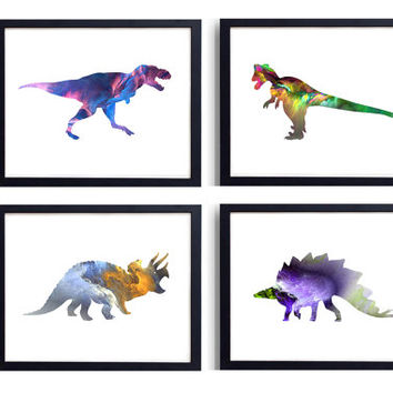 Set of 4 Prints Dinosaur Art Print, Dinosaur Poster, Dinosaur Wall Art, Watercolor Dinosaur, Kids Room Decor, Nursery Decor *30*