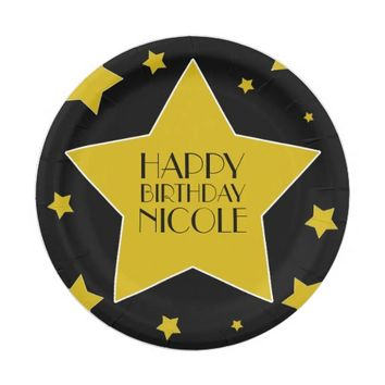 Black Gold Stars Hollywood Birthday Name 7 Inch Paper Plate
