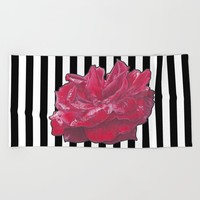 Red Rose on Stripes Beach Towel by drawingsbylam