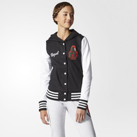 """""""Adidas"""" Multicolor Stripe Letter Long Sleeve Sportswear Buttons Hooded Baseball Clothing Coat"""