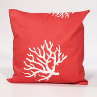 Coral Throw Pillow with Zipper 20x20 Decorative Pillow Cover 20 x 20 Invisible Zipper Closure