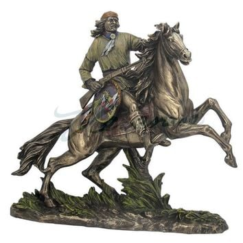 Indian Apache Warrior Going to Battle Statue, Bronze Finish