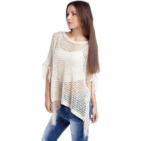 White Open Knit Poncho Cape - Q2 Store