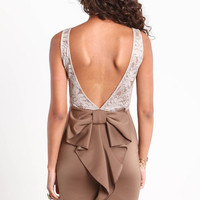 LOW BACK BOW LACE DRESS