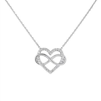 Sterling Silver Infinity Heart and CZ Necklace