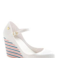 Mel Shoes Nautical Maritime for a Change Wedge in White