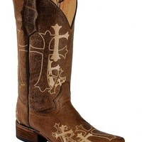 Circle G Cross Embroidered Cowgirl Boots - Square Toe - Sheplers