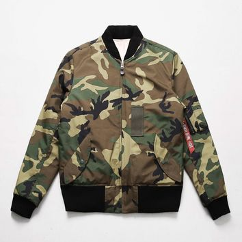 Mens AI Camouflage MA-1 Bomber Padded Jacket at Fabrixquare