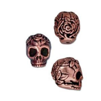 94-5685-18 - TierraCast Antique Copper Pewter Rose Skull Bead, 10mm | Pkg 2