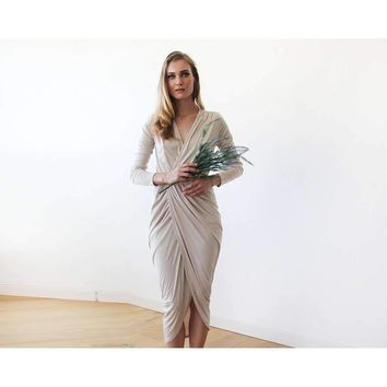 Champagne tulip wrap long sleeves maxi dress