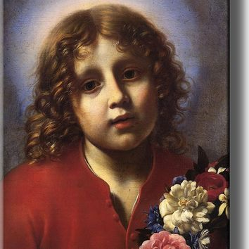 The Christ Child with Flowers by Carlo Dolci Wall Art Decor Picture on Stretched Canvas, Ready to Hang!.