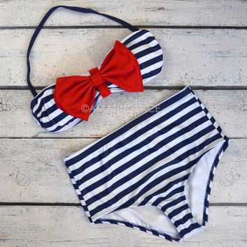 Sailor's Girl Navy Nautical Bow High-Waist Bikini