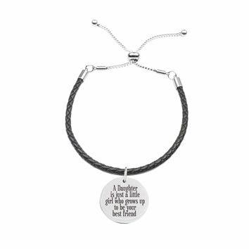 Genuine Leather Cord Inspirational Slider Bracelet  - A DAUGHTER