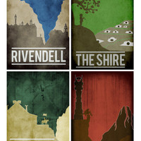 All 4 Lord of the Rings Location prints movie posters minimalist poster mordor the shire rivendell rohan