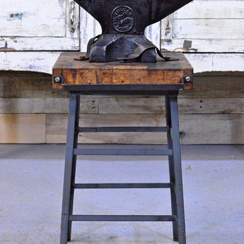 Vintage Vulcan Anvil, American Made Blacksmith Anvil, Butcher Block Table, Machinist Workbench, Industrial Table