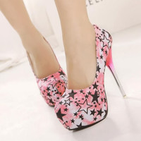 New Womens Silver High Heels Platform Stilettos Stars Printed Pump Classic Shoes