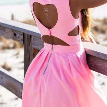 The Heart Wants What It Wants Pink Heart Cut Out Dress