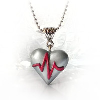 ECG heart pendant, heart attack / heart disease awareness necklace, get well gift, red line silver gray heart