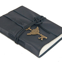 Black Leather Journal with Winged Clock Key Bookmark