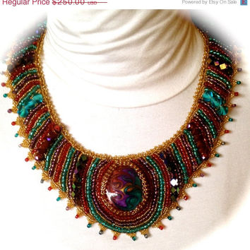 ON SALE Colorful Bead Embroidered Necklace, Multicolor, Crystals,