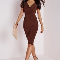 Missguided - Slinky Cowl Neck Midi Dress Chocolate Brown
