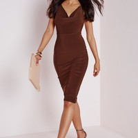 SLINKY COWL NECK MIDI DRESS CHOCOLATE BROWN