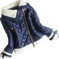 Baby Girls Princess Inclined Zipper Jacket Coat Kids Snowsuit Outwears Clothes