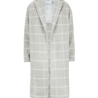 Grey Premium Grid Check Duster Coat