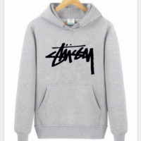 Stussy With thick fleece printed letters long sleeve T-shirt hoodie Grey
