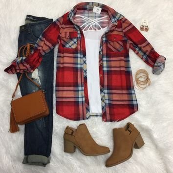 Penny Plaid Flannel Top: Red Multi