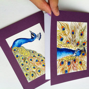 Hand Painted Cards, Set of 2, Peacock Paintings, Original Fine Art Cards, Bird Art, Blank Note Cards, Purple Cardstock, Any Occasion Cards