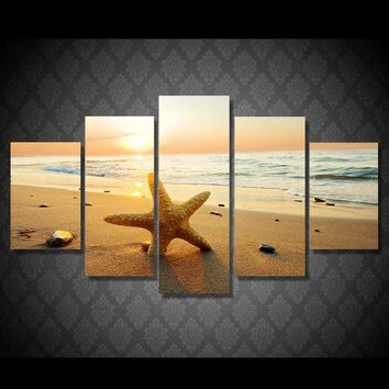 5 Pcs Starfish on Beach Ocean Sea at Sunset Wall art Canvas Panel Picture Print