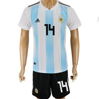 2018 World Cup Argentina Team Football Clothes Football Shirt Football Jersey Soccer Jersey Soccer Uniform (2 Piece)