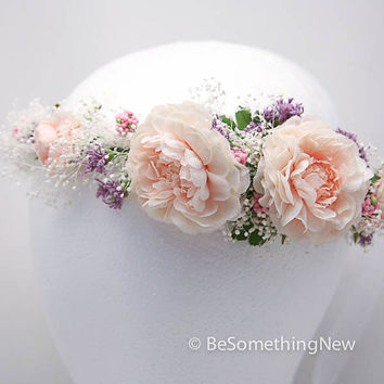 Flower crown of pink roses and babies breath, wedding flower wreath