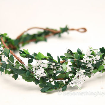 woodland wedding headpiece, pearls and leaves, wedding hair