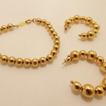 Gold Tone Bead Napier Bracelet and Hoop Earring Jewelry Set