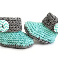 Teal and Grey Crochet Baby Booties - Baby Shoes - Baby Clothes