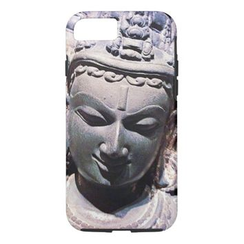 Asian stone face statue head photo cell phone case